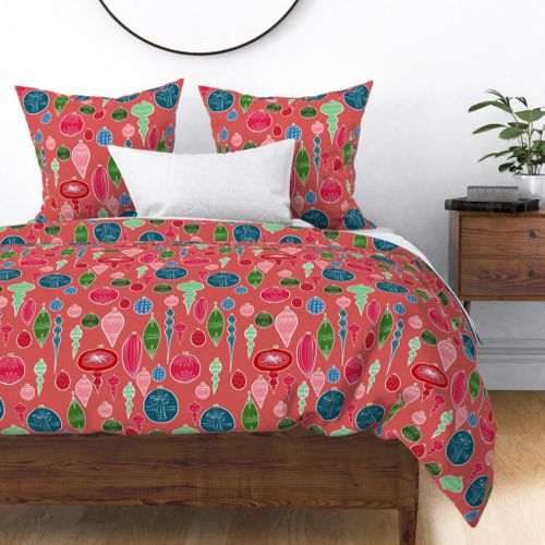 Vintage Christmas Ornments Multi on Rose Duvet Cover