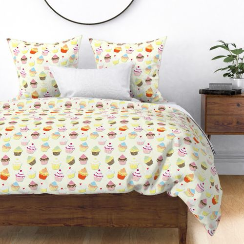 Cream Pastel Decorated and Iced Cupcakes Duvet Cover