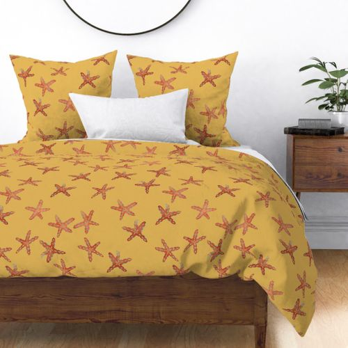 Aqua, Coral and Gold Starfish Hand-Painted Watercolor on Gold Duvet Cover