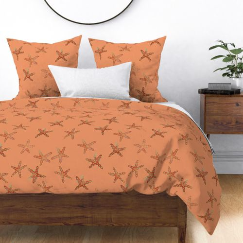 Aqua, Coral and Gold Starfish Hand-Painted Watercolor on Coral Duvet Cover