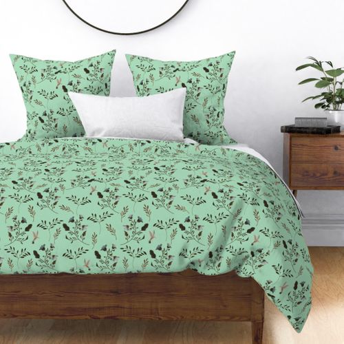 Bluebells and Bluebirds Floral Pattern in Mint Duvet Cover