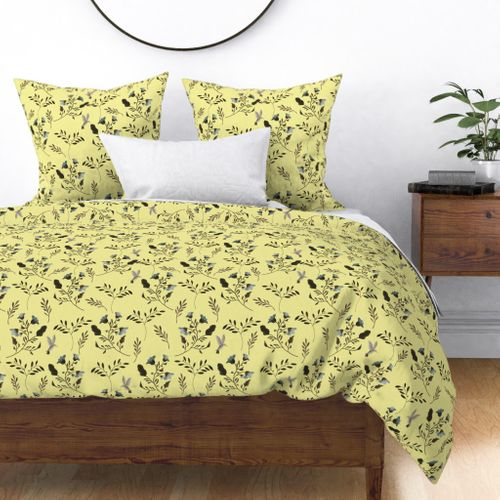 Bluebells and Bluebirds Floral Pattern Flowers in Butter Yellow Duvet Cover
