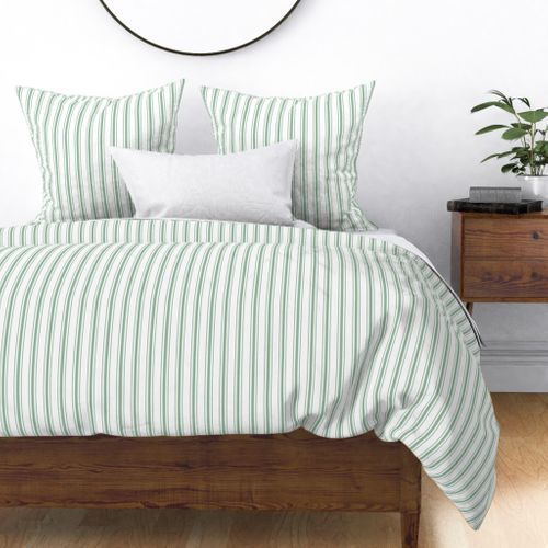 Mattress Ticking Narrow Striped Pattern in Moss Green and White Duvet Cover