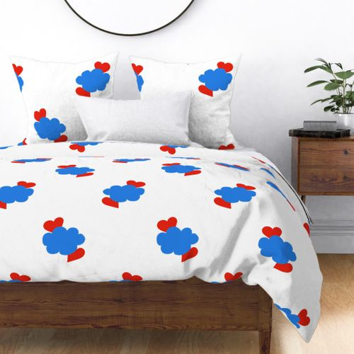 Cloud Hearts Red, White and Blue Sky Duvet Cover