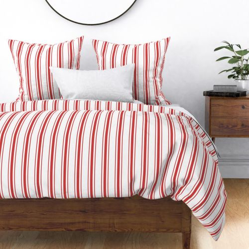 Mattress Ticking Wide Striped Pattern in Red and White Duvet Cover