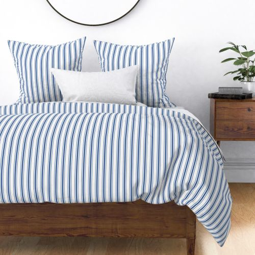 Mattress Ticking Narrow Striped Pattern in Dark Blue and White Duvet Cover