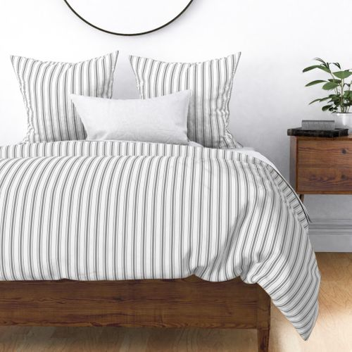 Mattress Ticking Narrow Striped Pattern in Charcoal Grey and White Duvet Cover