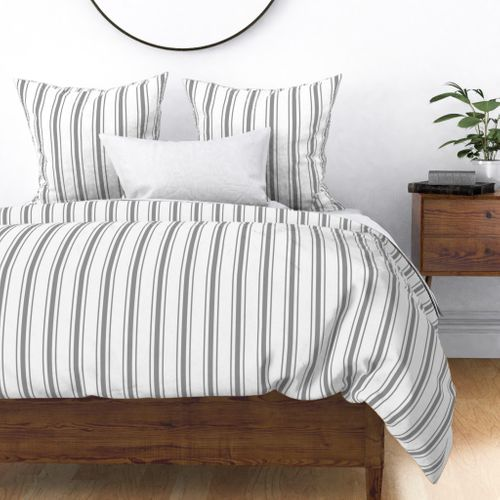 Mattress Ticking Wide Striped Pattern in Charcoal Grey and White Duvet Cover