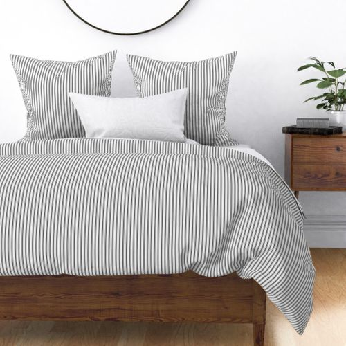 Mattress Ticking Narrow Striped Pattern in Dark Black and White Duvet Cover