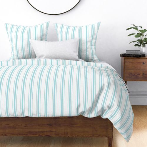 Pale Sky Blue and White Striped Mattress Ticking Duvet Cover