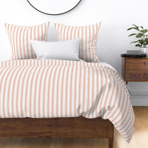 Small Shell Coral Peach Orange Mattress Ticking Stripes Duvet Cover
