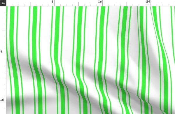 Mattress Ticking Wide Striped Pattern in Neon Green and White Duvet Cover