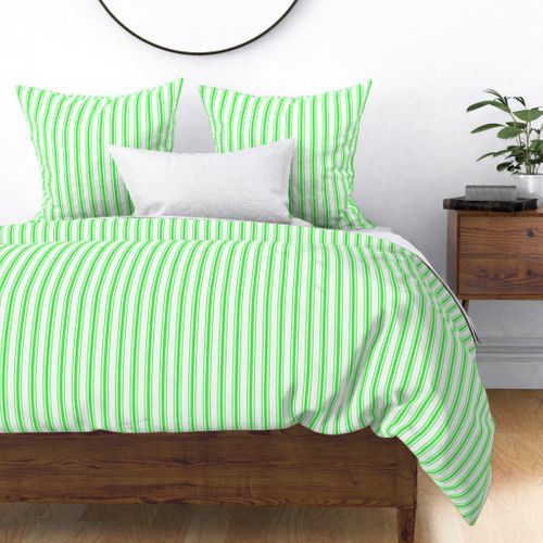 Mattress Ticking Narrow Striped Pattern in Neon Green and White Duvet Cover