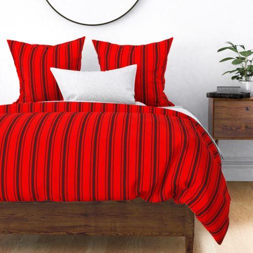 Mattress Ticking Wide Striped Pattern Jet Black on Red Duvet Cover