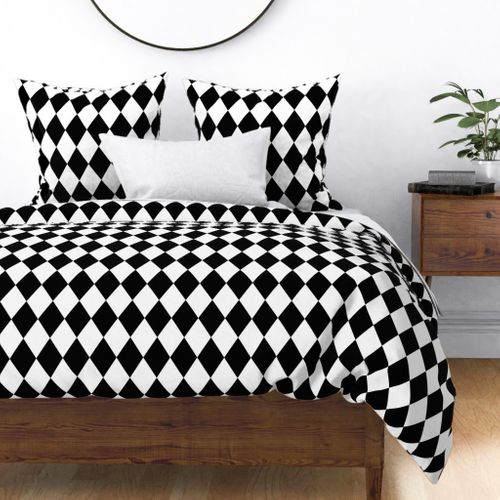 Classic Black and White Harlequin Diamond Check Duvet Cover