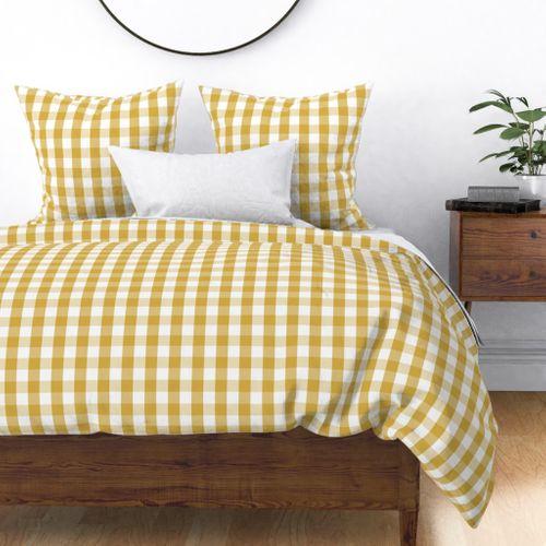 Designer Spicy Mustard Yellow Gingham Check Duvet Cover