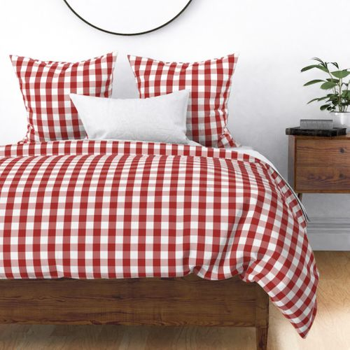 Aurora Red Gingham Check Duvet Cover