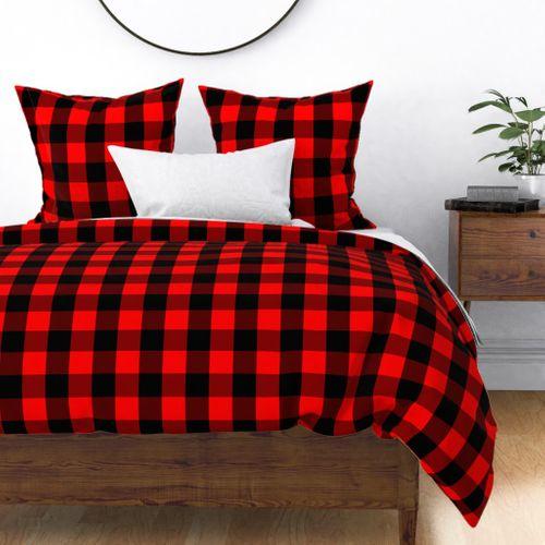 Classic Red and Black Buffalo Check Plaid Tartan Duvet Cover