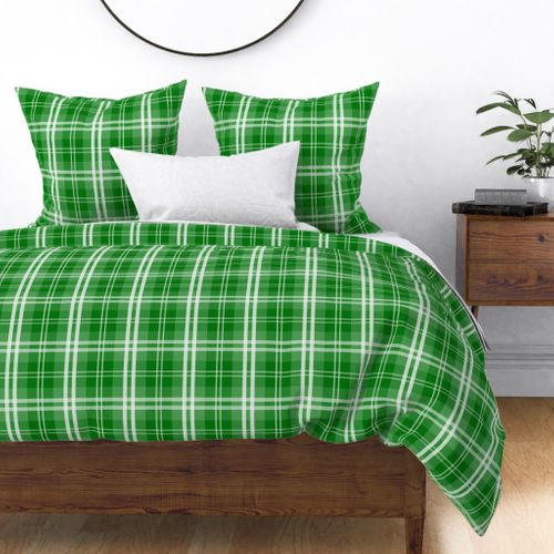 Christmas Green Tartan Plaid Check Duvet Cover
