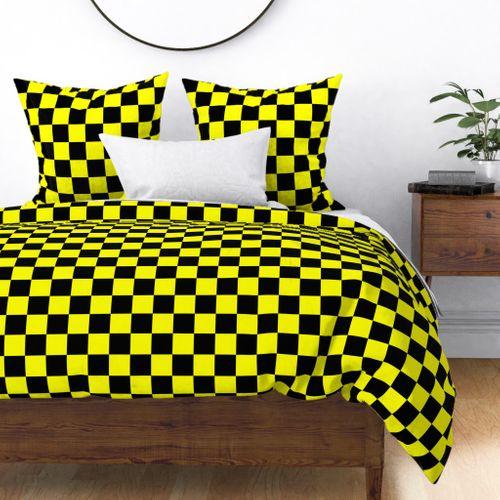 Bright Fluorescent Yellow Neon & Black Checked Checkerboard Duvet Cover
