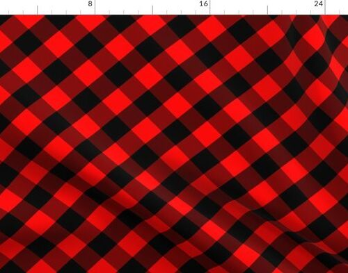 Diagonal Red and Black Buffalo Check Plaid Tartan