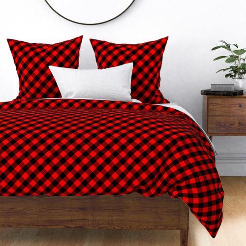 Diagonal Red and Black Buffalo Check Plaid Tartan Duvet Cover