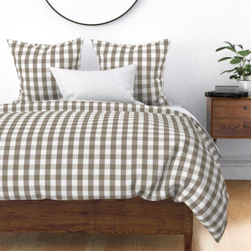 Mulch Brown Gingham Check Plaid Duvet Cover