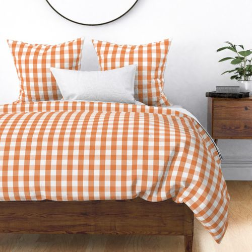 Nasturtium Orange Gingham Check Plaid Duvet Cover