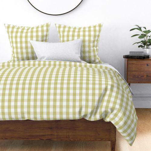 Fern Green Mini Gingham Check Plaid Duvet Cover
