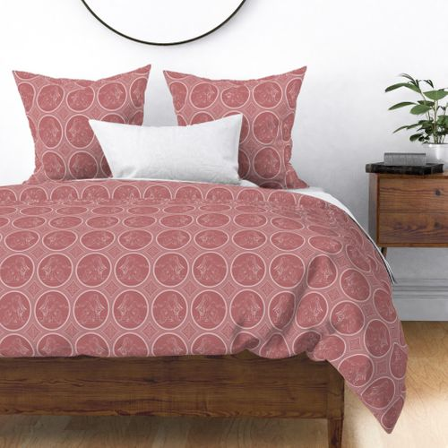Grisaille Rose Red Neo-Classical Ovals Duvet Cover