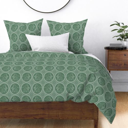Grisaille Fern Green Neo-Classical Ovals Duvet Cover