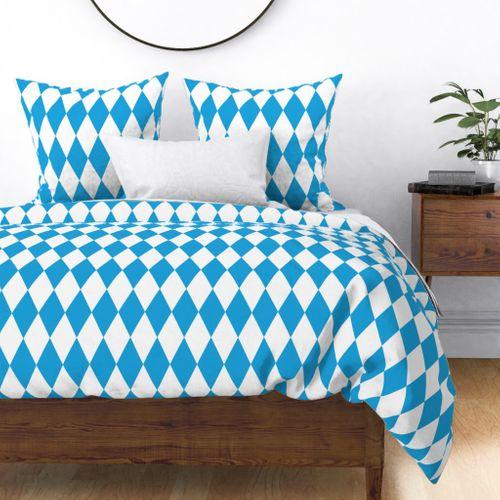 Oktoberfest Bavarian Blue and White Large Diagonal Diamond Pattern Duvet Cover