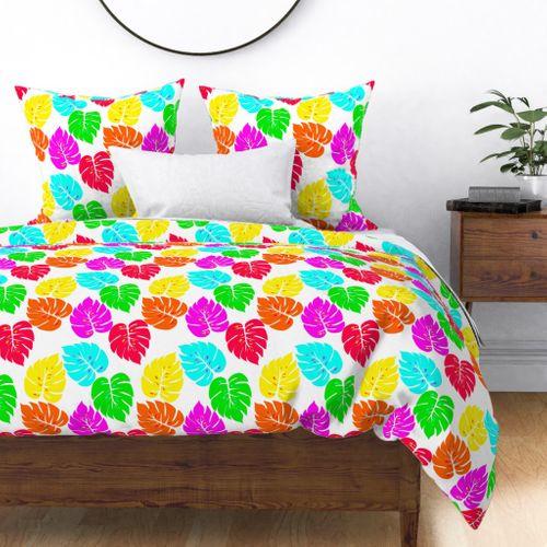 Neon Hawaiian Rainbow Monstera Leaves on White Duvet Cover