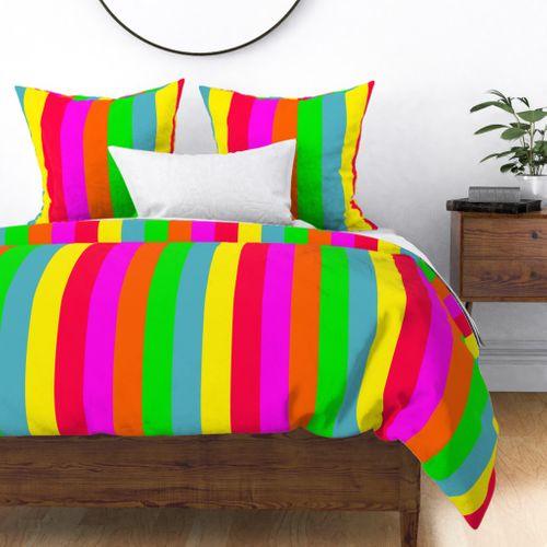Neon Hawaiian Rainbow Cabana Stripes Duvet Cover