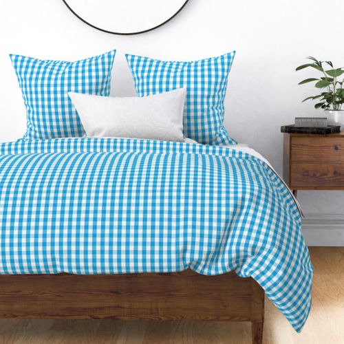 Oktoberfest Bavarian Blue and White Gingham Check Duvet Cover