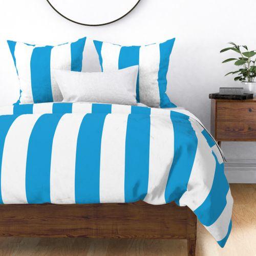 Oktoberfest Bavarian Blue and White Large Cabana Stripes Duvet Cover