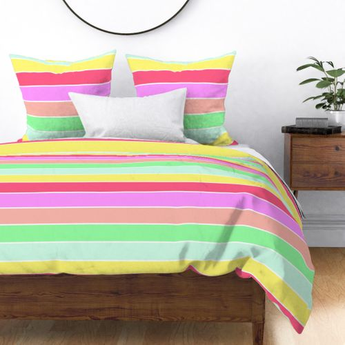 Pastel Rainbow Sorbet Horizontal Deck Chair Stripes Duvet Cover