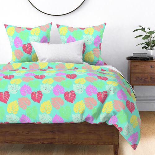 Pastel Rainbow Monstera Duvet Cover