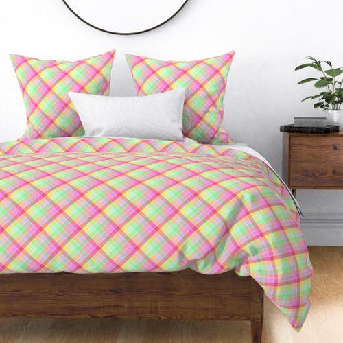 Pastel Rainbow Tablecloth Diagonal Check Duvet Cover