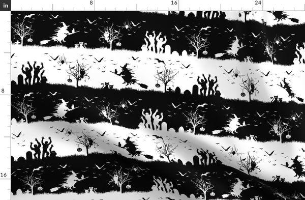 Black and White Halloween Nightmare Stripes Duvet Cover