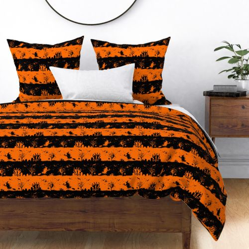 Dark Pumpkin Orange and Black Halloween Nightmare Stripes Duvet Cover