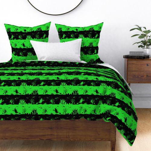 Monster Green and Black Halloween Nightmare Stripes Duvet Cover