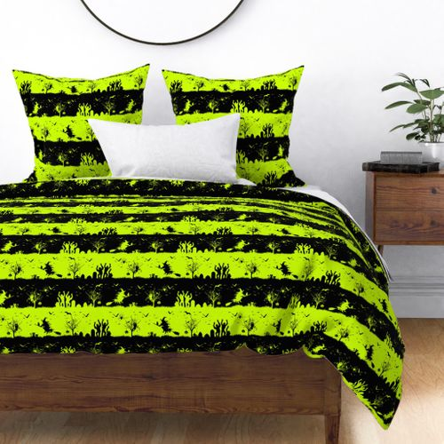 Slime Green and Black Halloween Nightmare Stripes Duvet Cover