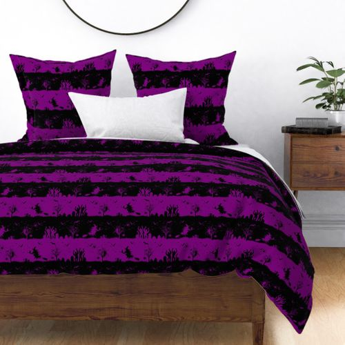 Black and Purple Halloween Zombie Stripes Duvet Cover