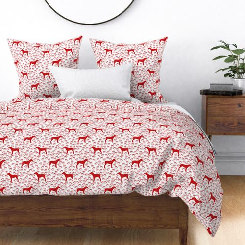 Big Red Dog and Paw Prints Duvet Cover