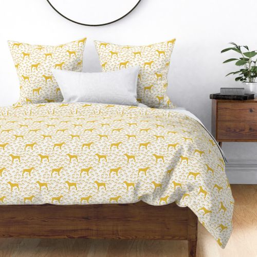 Big Yellow Dog and Paw Prints Duvet Cover
