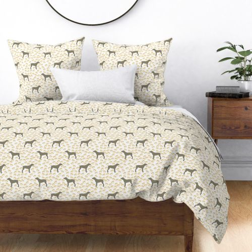 Big Grey Weimaraner Dogs with Yellow Paw Prints Duvet Cover