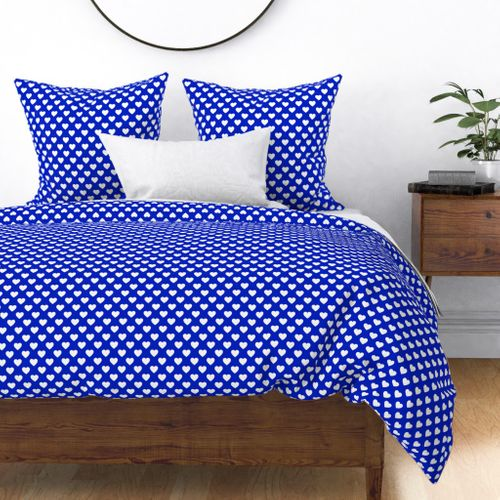 """1"""" White Hearts on Cobalt Blue Background Duvet Cover"""