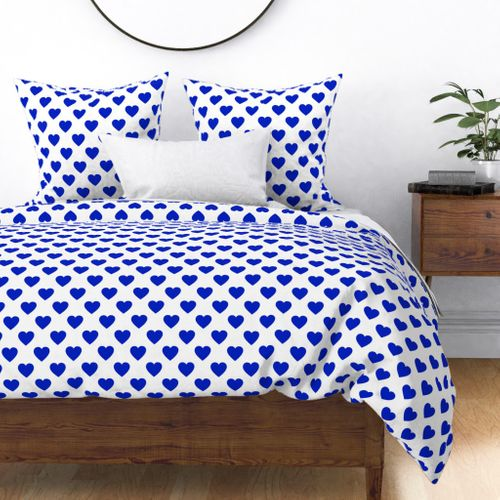 """2"""" Cobalt Blue Hearts on White` Duvet Cover"""