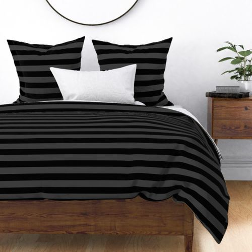 Shadow Grey and Black Horizontal Witch Stripes Duvet Cover